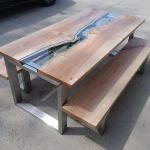 Buy Custom Maple River Glass Dining Table With Maple Benches Made To Order From Villella Custom Woodworking Custommade Com