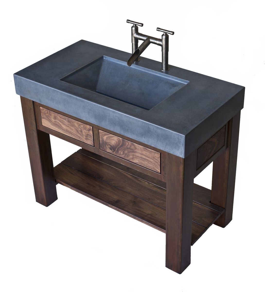 hand crafted steel and walnut vanity