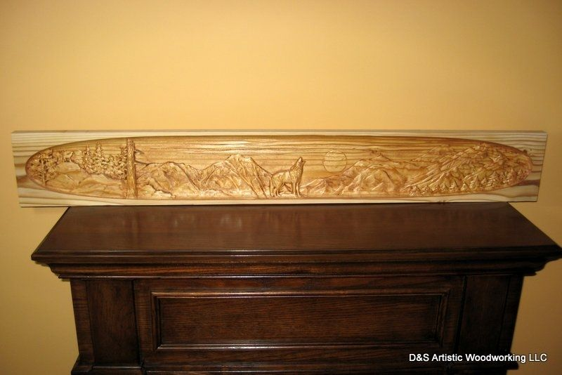 Hand Made Carved Fireplace Mantel Insert With Wolf By DampS