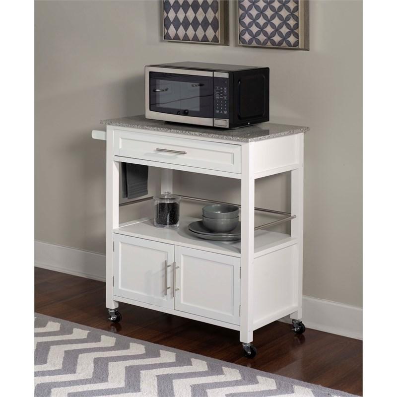 linon cameron wood granite top kitchen cart in white