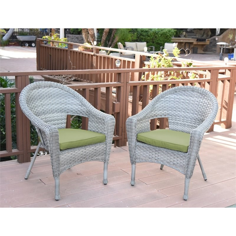 jeco clark wicker patio chair in gray and sage green set of 2