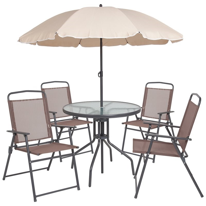 flash furniture nantucket 6 piece patio dining set with umbrella