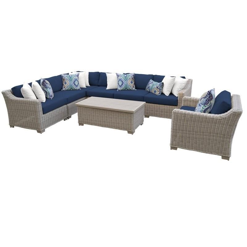 coast 8 piece outdoor wicker patio furniture set 08d in navy