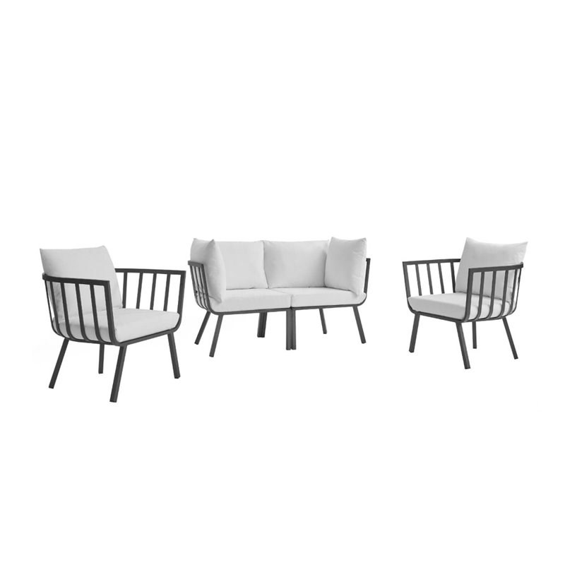 modway riverside 4 piece aluminum patio loveseat set in gray and white