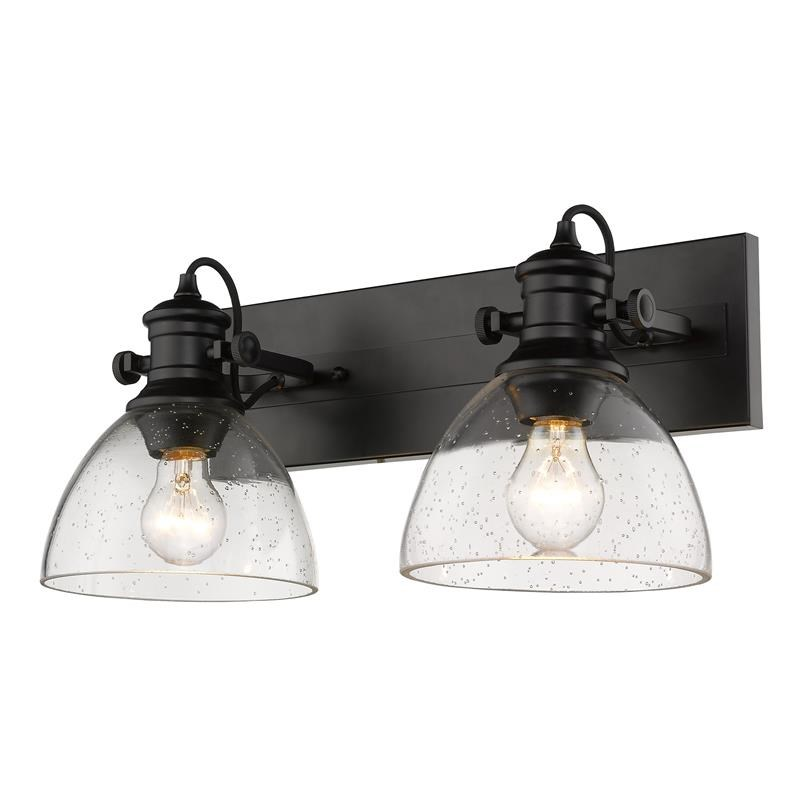 hines 2 light semi flush in matte black with seeded glass