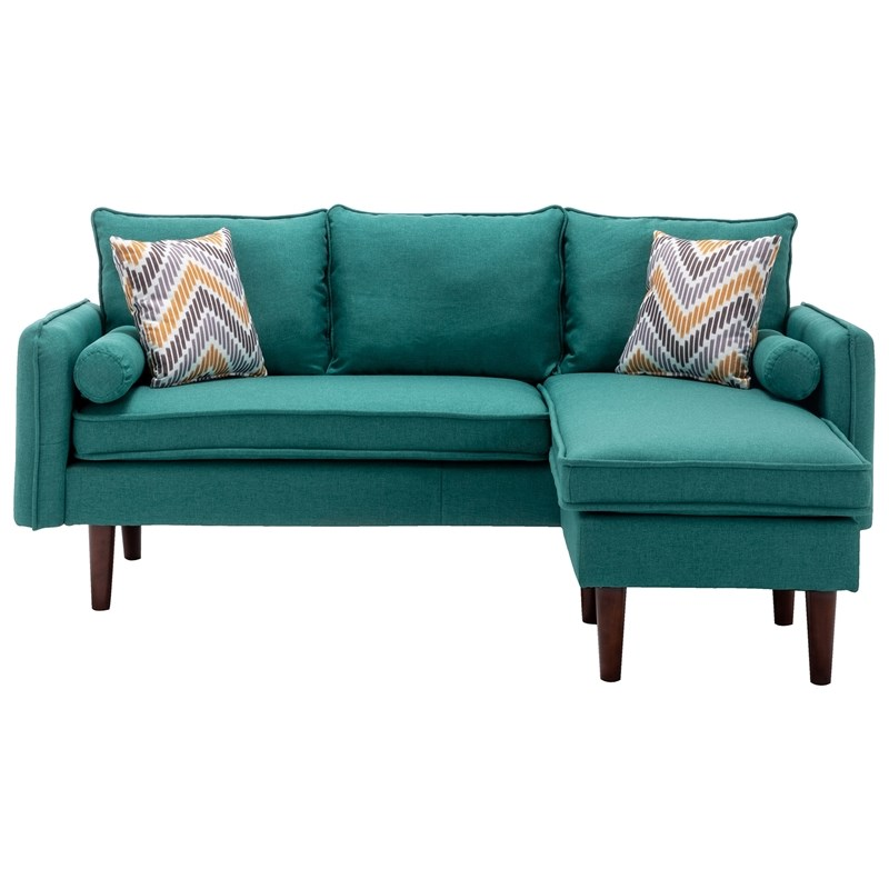 mia linen fabric sectional sofa chaise with usb charger pillows in green