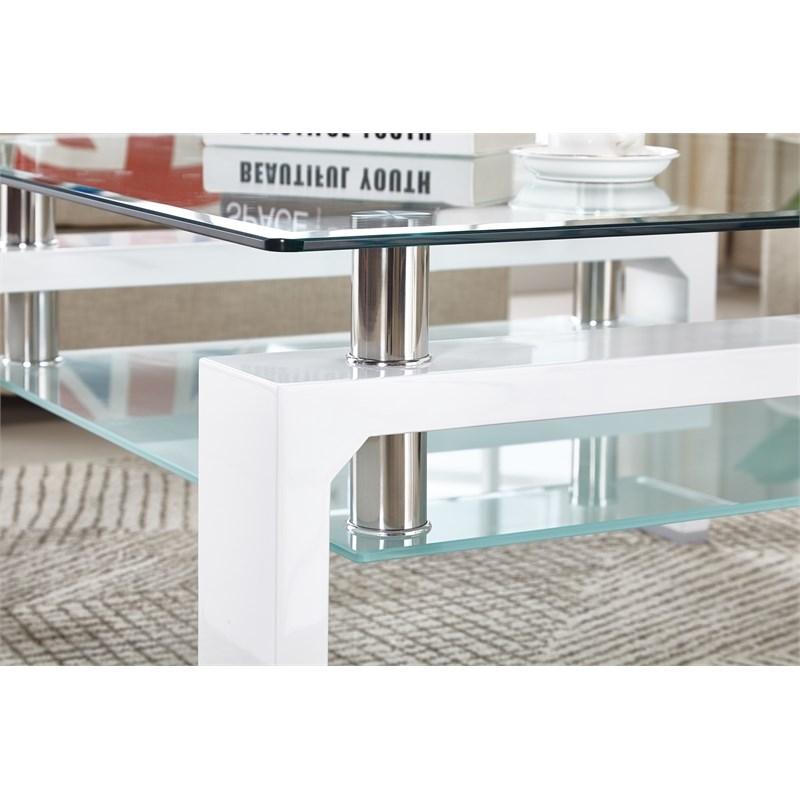 artisan furniture perla square tempered glass coffee table in white lacquer