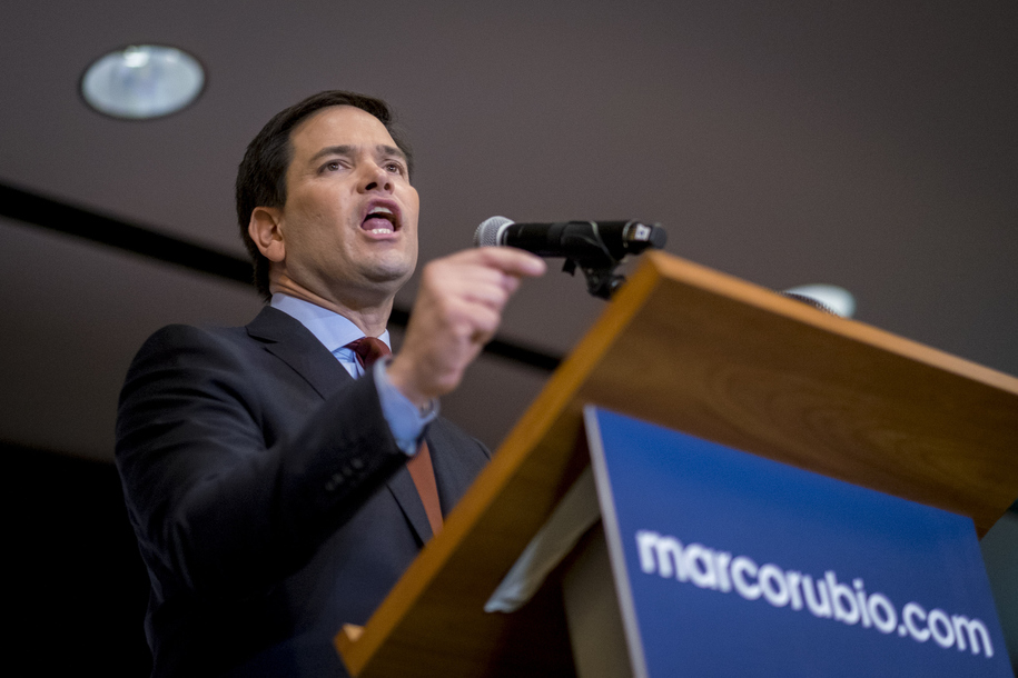DES MOINES, IOWA - FEBRUARY 1: Republican presidential candidate, Sen. Marco Rubio (R-FL) addresses supporters at a caucus night party at the Marriott hotel on February 1, 2016 in Des Moines, Iowa. Republican and Democratic candidates for President of the