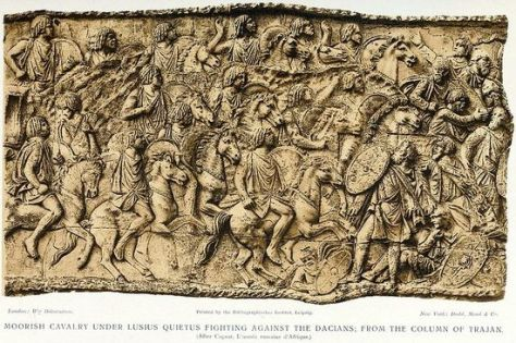 19th century engraving of Amazigh cavalry on the column of Trajan