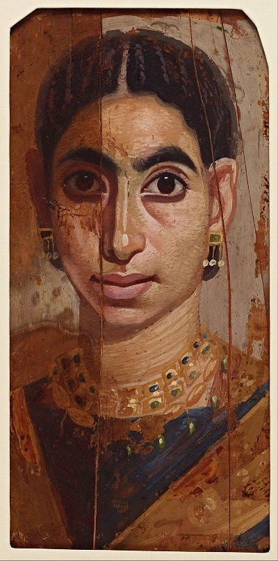 Dark skinned woman from north African mummy painting