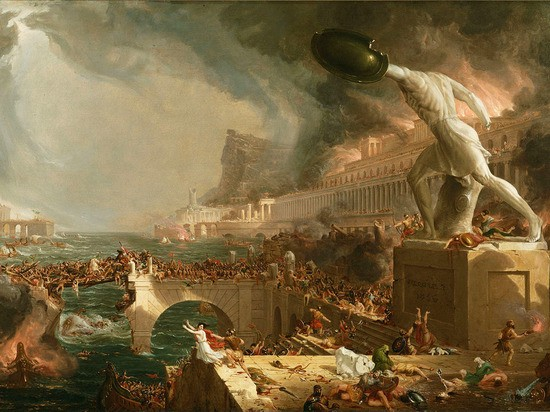 Thomas Cole (1801–1848) 	Destruction from The Course of Empire. 1836	painting	39 ½ x 63 ½ in (100.33 x 161.29 cm) New-York Historical Society