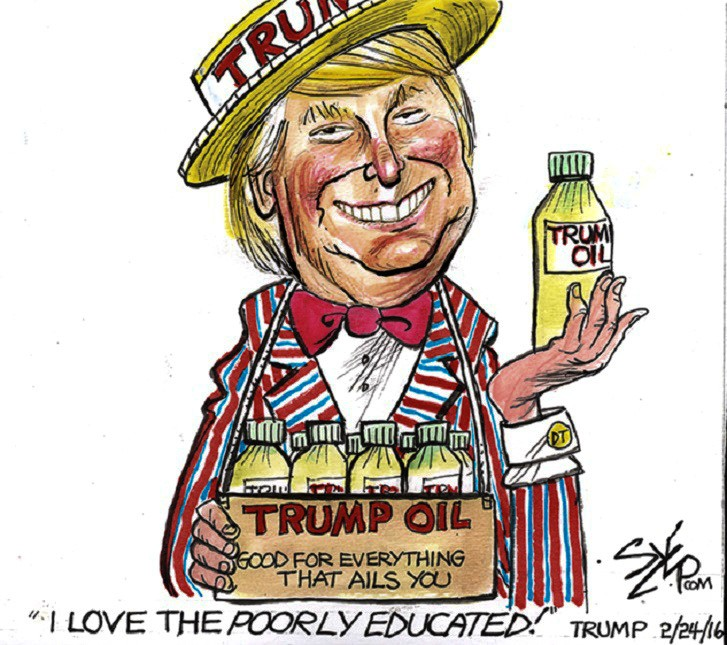 Image result for trump con man cartoons