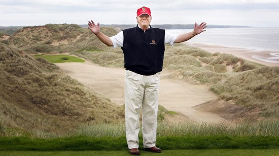epa03946944 (FILES) A file picture dated 20 June 2011 shows US business magnate Donald Trump posing for photographers at his luxury golf resort during a visit to the Menie estate in Aberdeenshire, Scotland, Britain. Trump on 12 November 2013 launched a legal challenge in Edinburgh to a planned offshore wind farm, which he says will spoil the view from his luxury coastal golf resort. In March, the Scottish government granted approval for the 11-turbine wind farm in Aberdeen Bay, off the north-east coast of Scotland. Trump International Golf Links and The Trump Organisation are asking the Court of Session to declare the decision illegal, as well as challenging a decision not to hold a public inquiry into the wind farm.  EPA/DANNY LAWSON UK AND IRELAND OUT - EDITORIAL USE ONLY