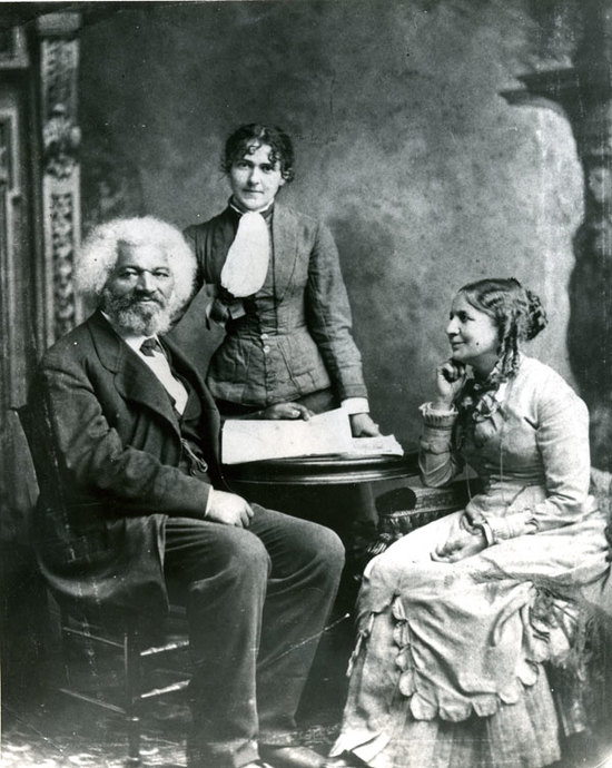 Frederick Douglass with second wife, Helen Pitts, sitting, and her sister Eva.