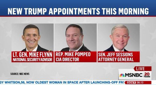 Image result for trump appointments sessions flynn and