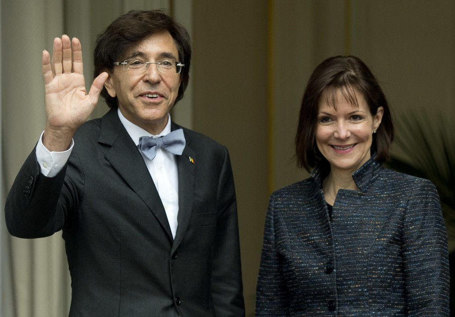 Belgium's Prime Minister Elio Di Rupo (L) welcomes US Ambassador Denise Bauer prior to their meeting on November 5, 2013, in Brussels.  AFP PHOTO / BELGA / BENOIT DOPPAGNE  ***BELGIUM OUT***        (Photo credit should read BENOIT DOPPAGNE/AFP/Getty Images)