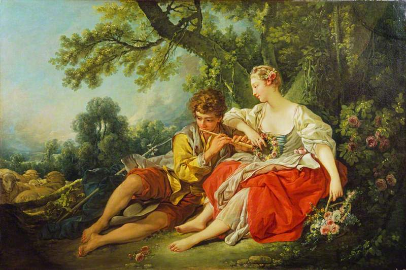 shepherd playing the flute for woman