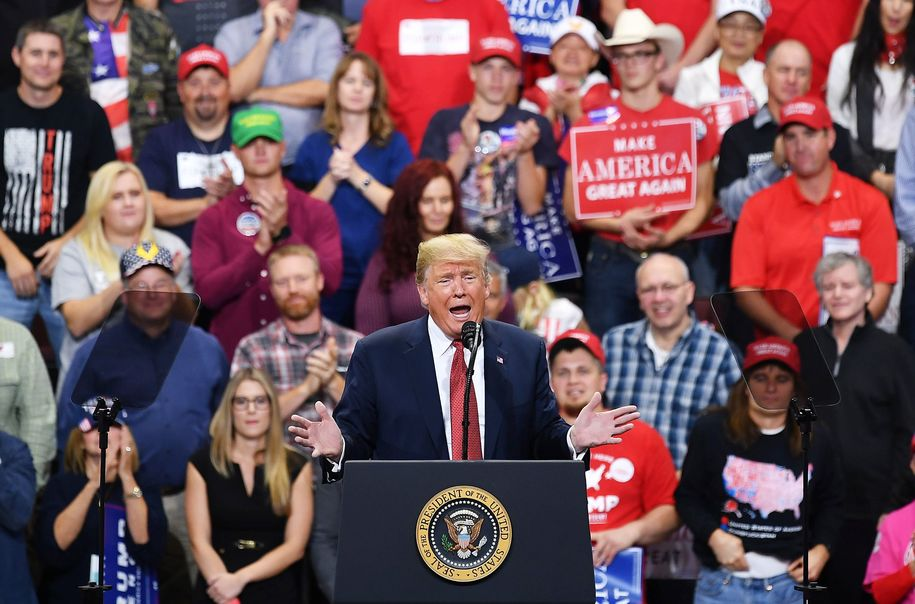 US President Donald Trump speaks during a rally at the Mayo Civic Center in Rochester, Minnesota on October 4, 2018. (Photo by MANDEL NGAN / AFP)        (Photo credit should read MANDEL NGAN/AFP/Getty Images)