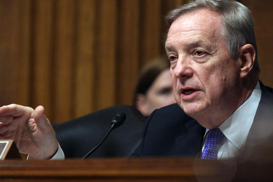 Senate Judiciary Committee member Sen Richard Durbin, D-Ill. questions Homeland Security Secretary Jeh Johnson, on Capitol Hill in Washington, Tuesday, April 28, 2015, during the committee's hearing on oversight of the Homeland Security Department.  (AP Photo/Lauren Victoria Burke)