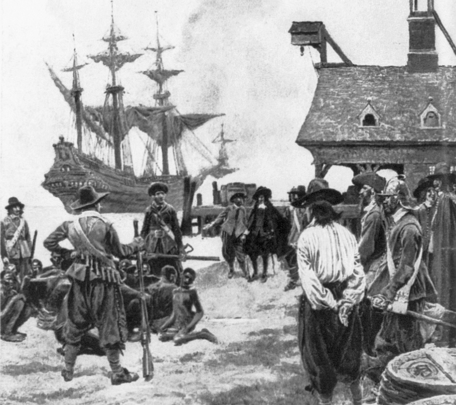 1619. The 400th anniversary of the real founding of America - Landing Negroes at Jamestown from Dutch man-of-war, 1619.