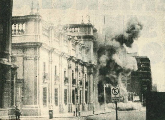 The bombing of La Moneda, the Chilean presidential palace, during the coup of September 11, 1973.