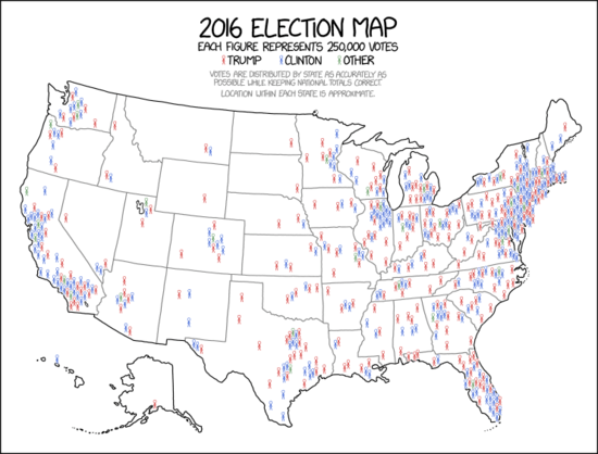 2016 Election map showing vote distribution across the country, in xkcd.com form, with plain icon representation.