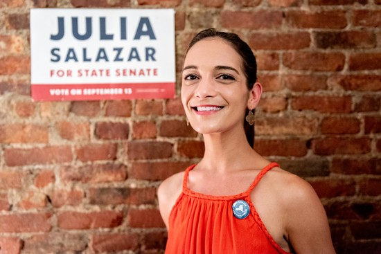 Julia Salazar Fund Raising Party / 30 St.Marks Place, Brooklyn, NY- July 17th, 2018: Julia Salazar the  democratic socialist running for senate during her fund raising party held in southern Brooklyn ..David 'Dee' Delgado for Village Voice