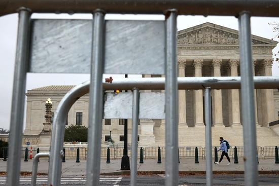 WASHINGTON, DC - NOVEMBER 30: The United States Supreme Court hears oral arguments in Trump v. New York on November 30, 2020 in Washington, DC. The court will hear arguments on both sides of a challenge to the Trump administration's plan to exclude people living in the country without authorization from the U.S. Census Bureau's population totals which are used to reapportion congressional seats among the states. (Photo by Chip Somodevilla/Getty Images)