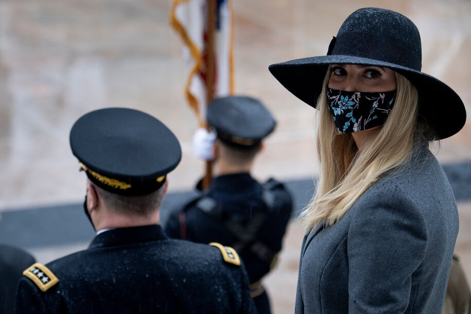 Daughter and Senior Advisor to the US President Ivanka Trump (R) waits for a wreath laying ceremony at the Tomb of the Unknown Soldier for Veterans Day at Arlington National Cemetery November 11, 2020, in Washington, DC. - US President Donald Trump made his first official post-election appearance Wednesday for what should be a moment of national unity to mark Veteran's Day, now marred by his refusal to acknowledge Joe Biden's win. The president visited Arlington National Cemetery, four days after US media projected his Democratic rival would take the White House. (Photo by Brendan Smialowski / AFP) (Photo by BRENDAN SMIALOWSKI/AFP via Getty Images)