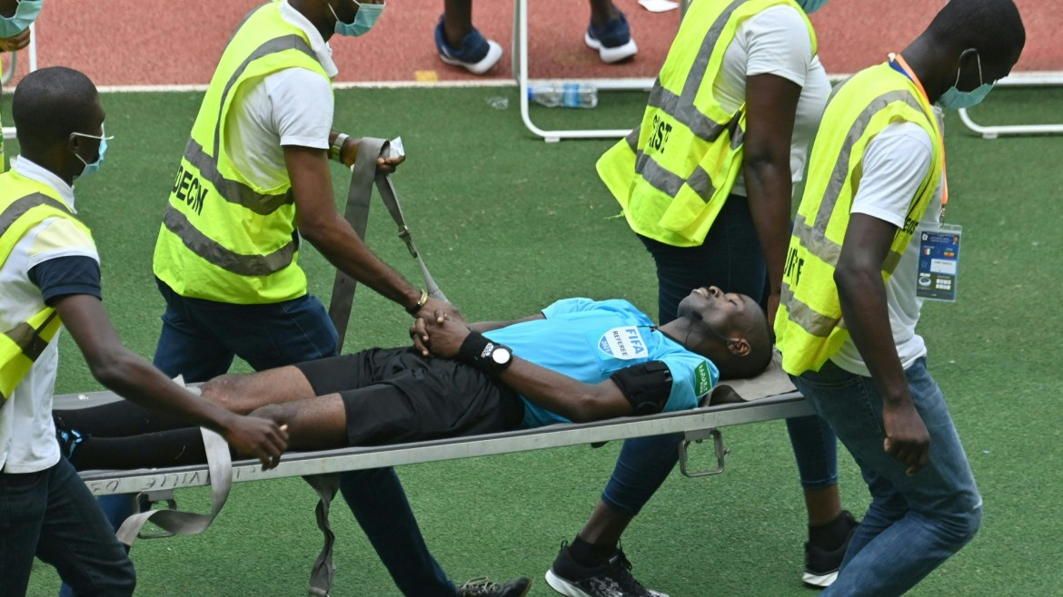 Charles Bulu: Referee in stable condition after collapsing during Cote  d'Ivoire versus Ethiopia   Goal.com