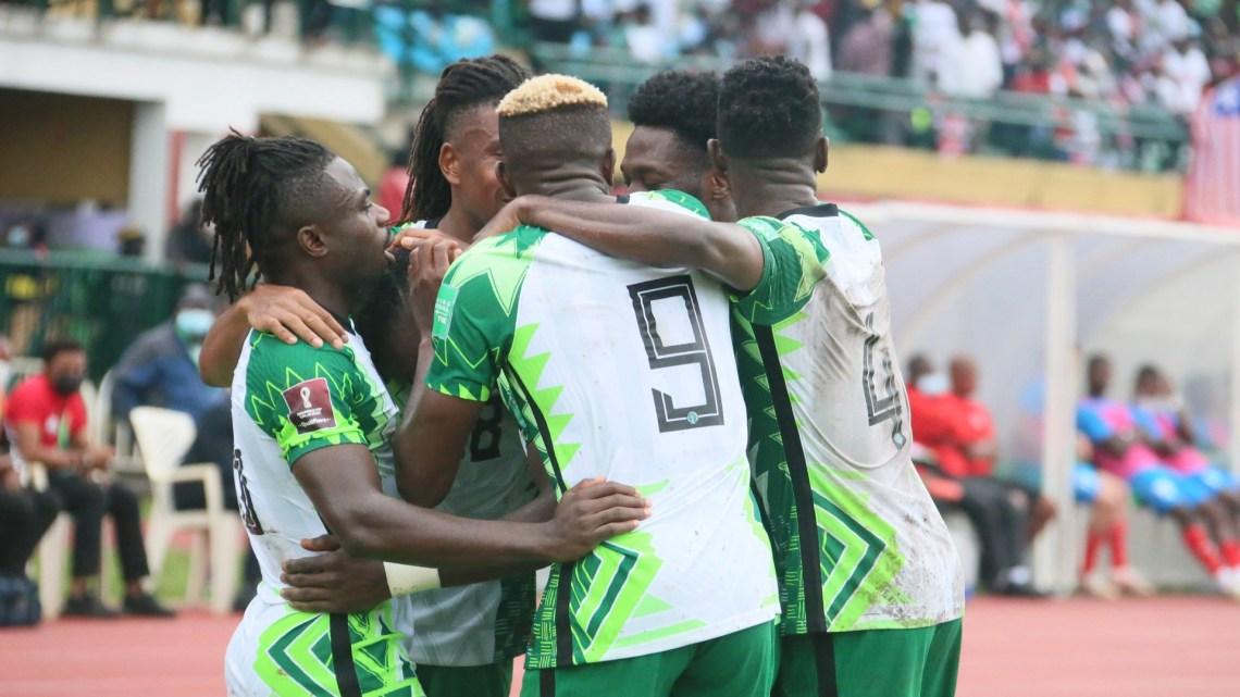 Nigeria's Super Eagles celebrate vs. Liberia