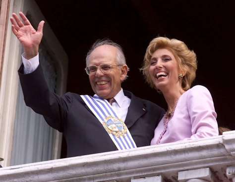 Jorge Batlle nach seiner Angelobung im Jahr 2000 mit seiner Frau Mercedes Menafra