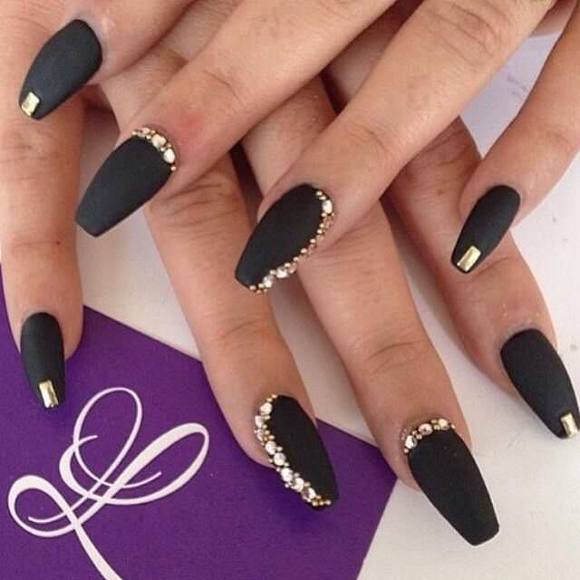 Black And Gold Studded Nail Art