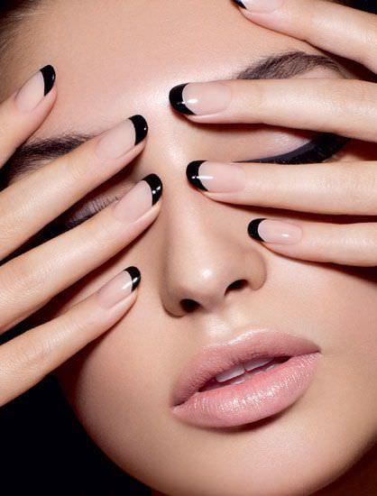 Black Nail Paint Design On Finger Tip