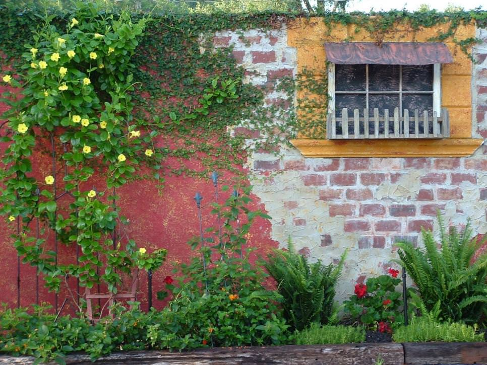Brick Wall Garden Designs, Decorating Ideas, | Design Trends on Garden Patio Wall Ideas id=57232