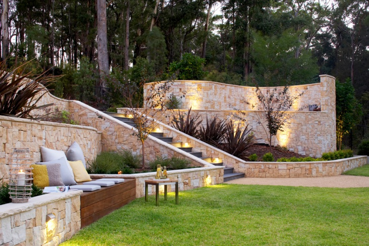 14+ Stone Wall Designs | Wall Designs | Design Trends ... on Tiered Yard Landscaping id=70954