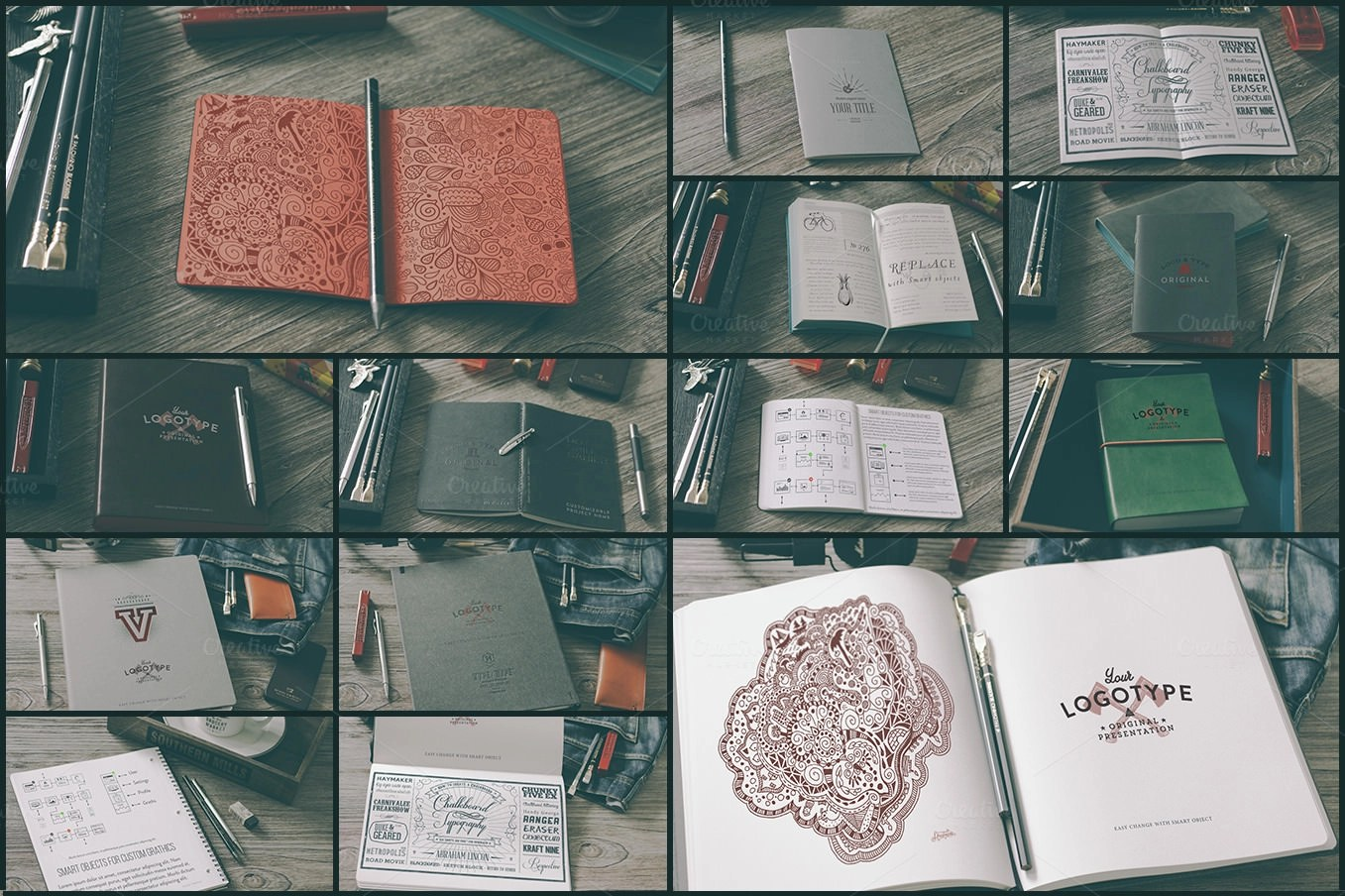 Set of Notebook Mockup Designs