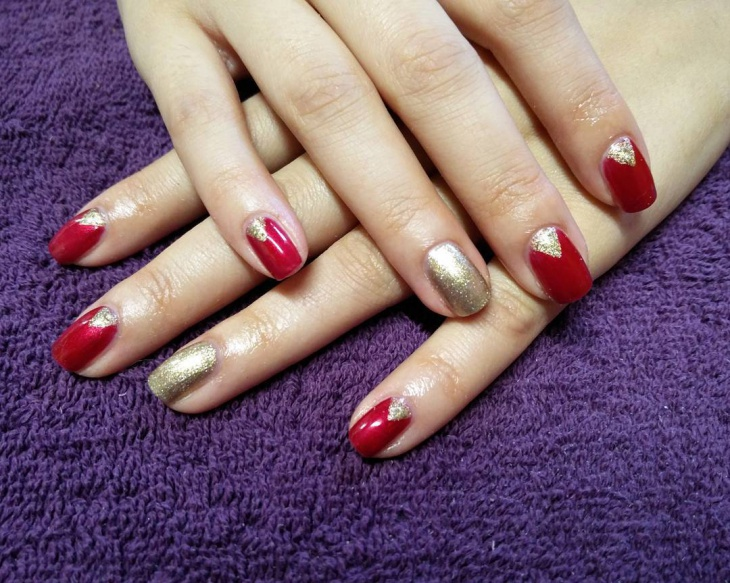 Cly Glitter Nail Art Red And Gold Design