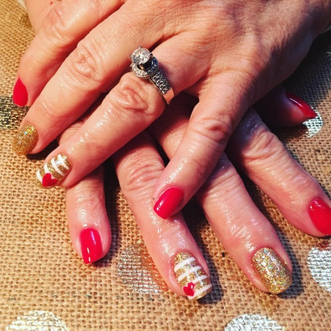 Red And Gold Swirls Design Nail Art Idea