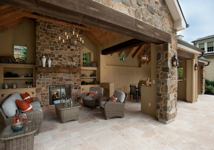 20+ Stone Patio Outdoor Designs, Decorating Ideas | Design ... on Travertine Patio Ideas id=26664