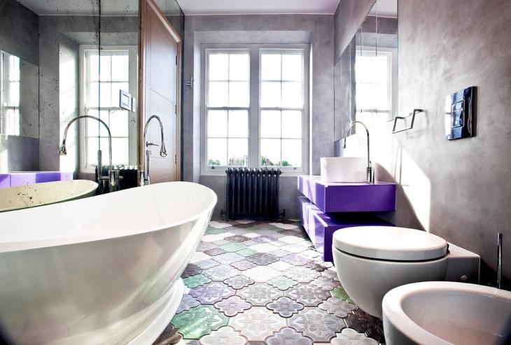20+ Bathroom Tile Floor Designs, Plans, Flooring Ideas ... on Floral Tile Bathroom Ideas  id=96487