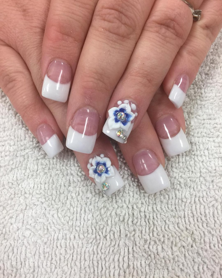 Gel Nail Design With White Tip