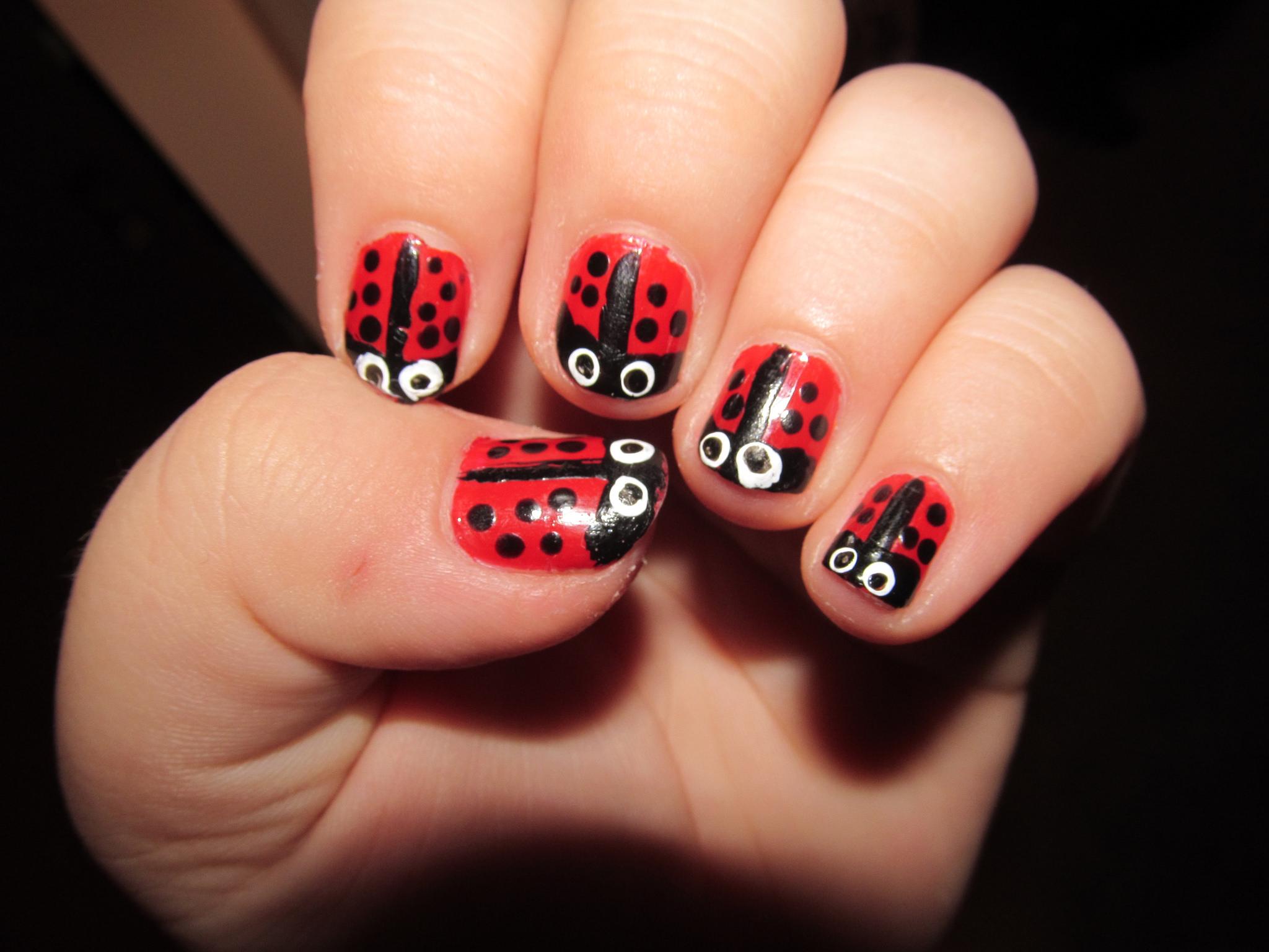 Red Black Dot Nail Design