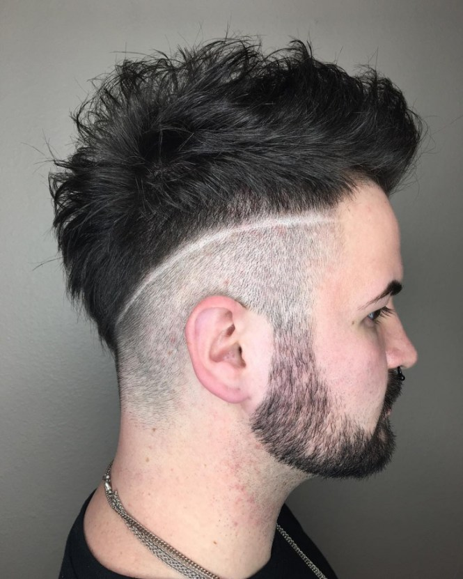 Line In Haircut Low Fade Comb Over Two Design