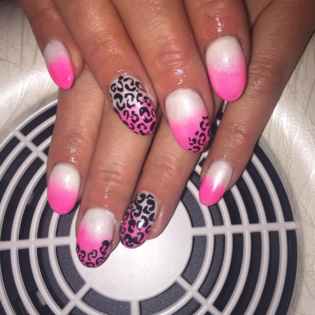 Animal Pink White Nail Design
