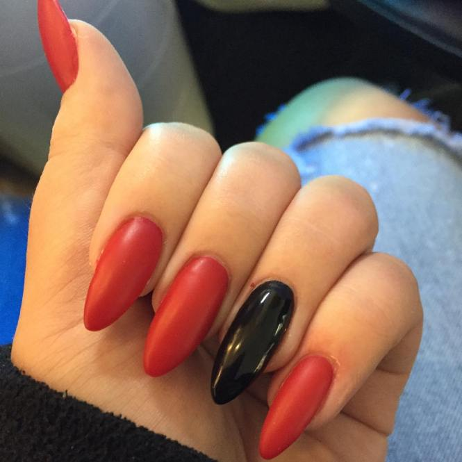 Easy Red And Black Nail Art Design