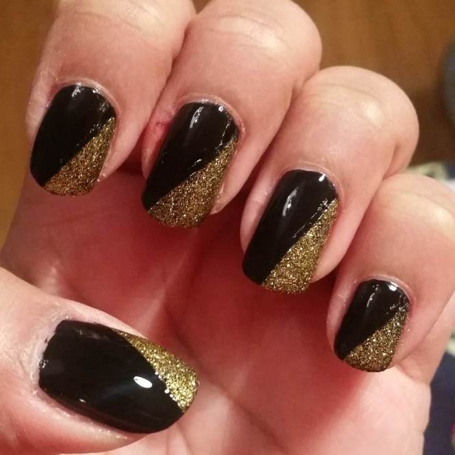 Nail Art Designs Black And Gold