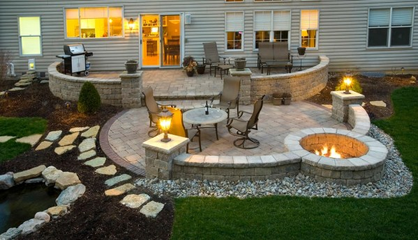 paver patio with fire pit design ideas 24+ Paver Patio Designs | Garden Designs | Design Trends