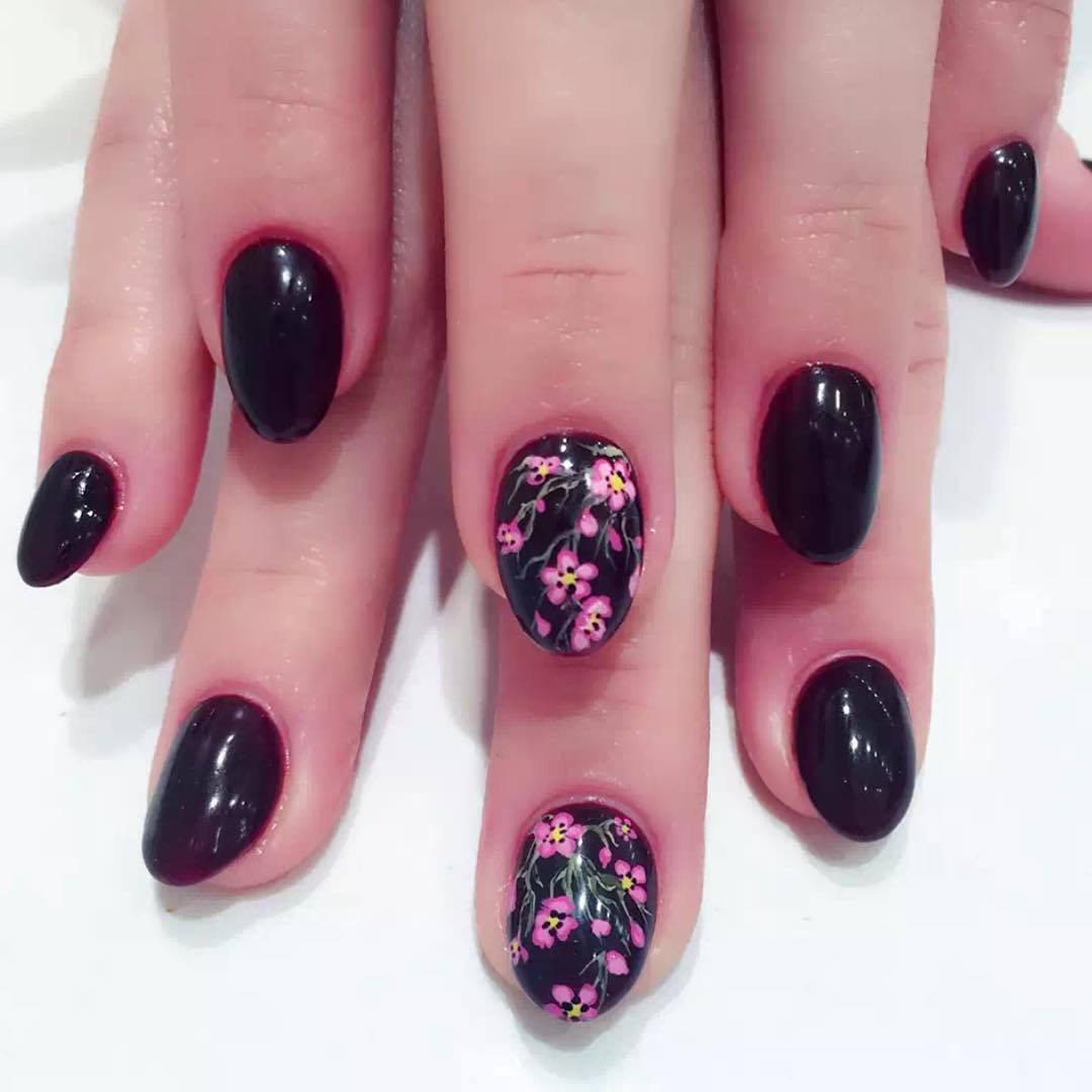 Black And Pink Flower Nail Design Art