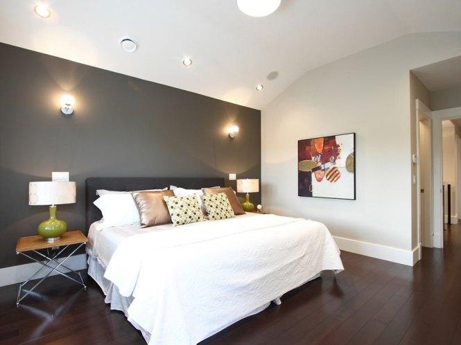 Elegant Gray Accent Wall Paint Design In Bedroom